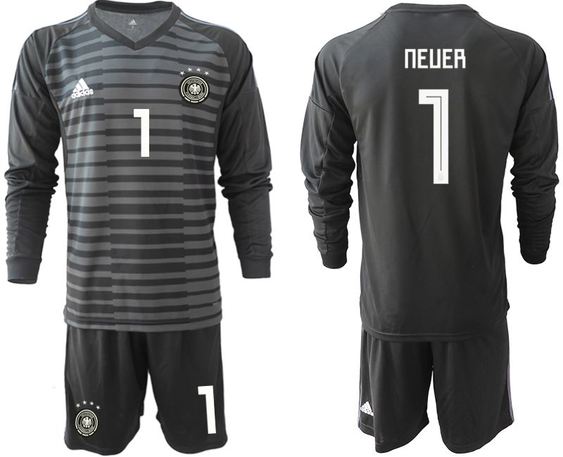 Men 2018 World Cup Germany black long sleeve goalkeeper 1 soccer jersey