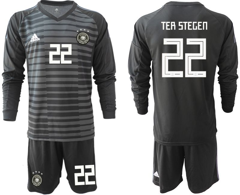 Men 2018 World Cup Germany black long sleeve goalkeeper 22 soccer jersey