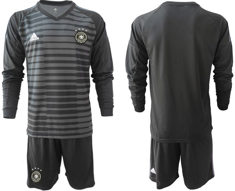 Men 2018 World Cup Germany black long sleeve goalkeeper soccer jersey