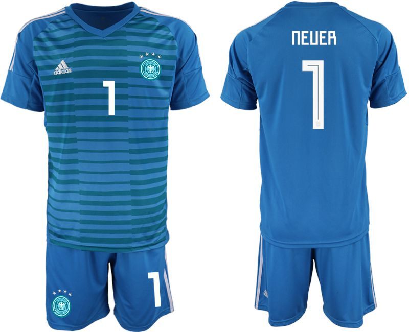 Men 2018 World Cup Germany blue goalkeeper 1 Soccer Jerseys