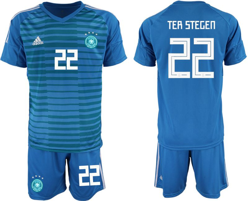 Men 2018 World Cup Germany blue goalkeeper 22 Soccer Jerseys