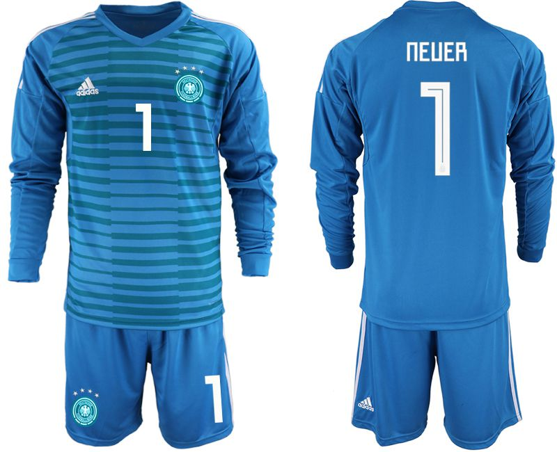Men 2018 World Cup Germany blue goalkeeper Long sleeve 1 soccer jersey