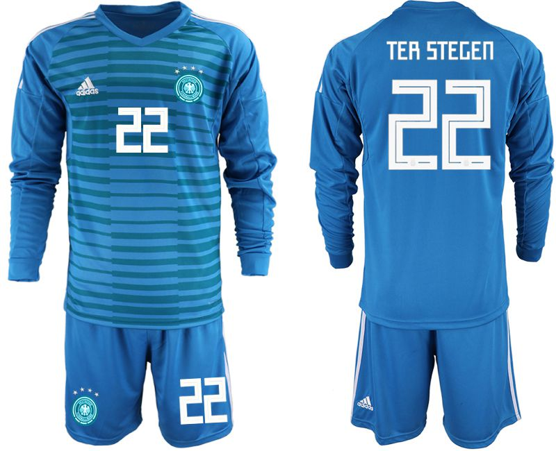 Men 2018 World Cup Germany blue goalkeeper Long sleeve 22 soccer jersey