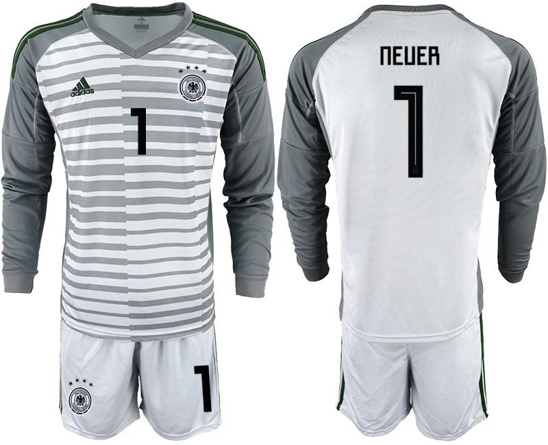 Men 2018 World Cup Germany gray long sleeve goalkeeper 1 soccer jersey
