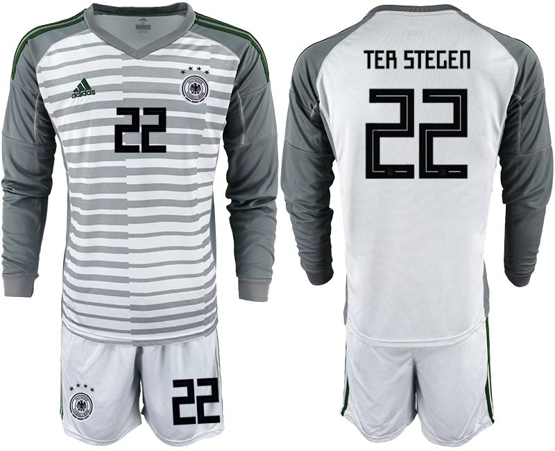 Men 2018 World Cup Germany gray long sleeve goalkeeper 22 soccer jersey
