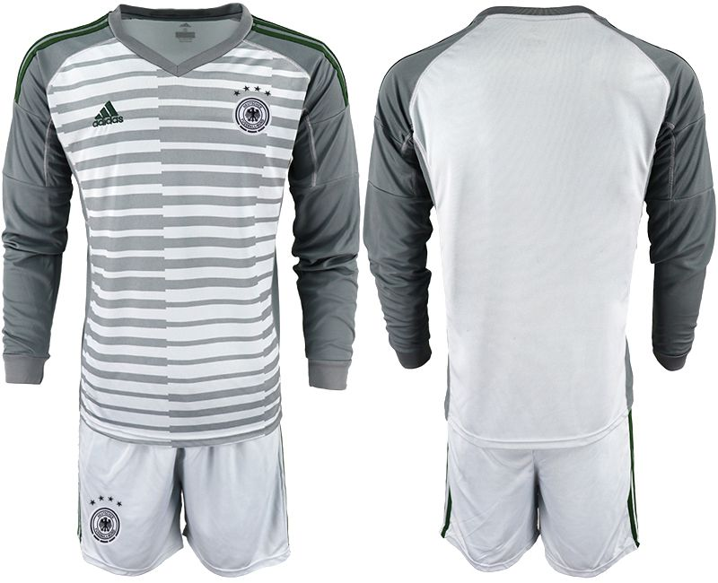 Men 2018 World Cup Germany gray long sleeve goalkeeper soccer jersey