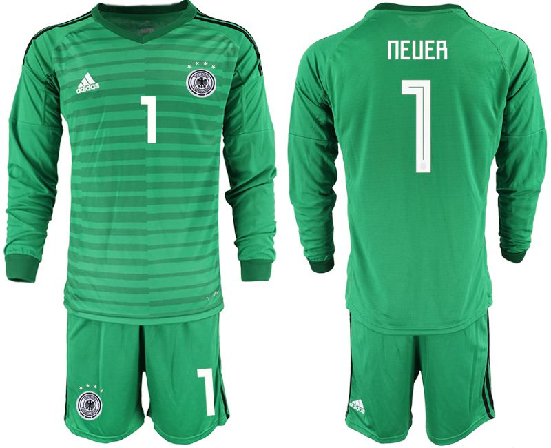 Men 2018 World Cup Germany green long sleeve goalkeeper 1 soccer jersey