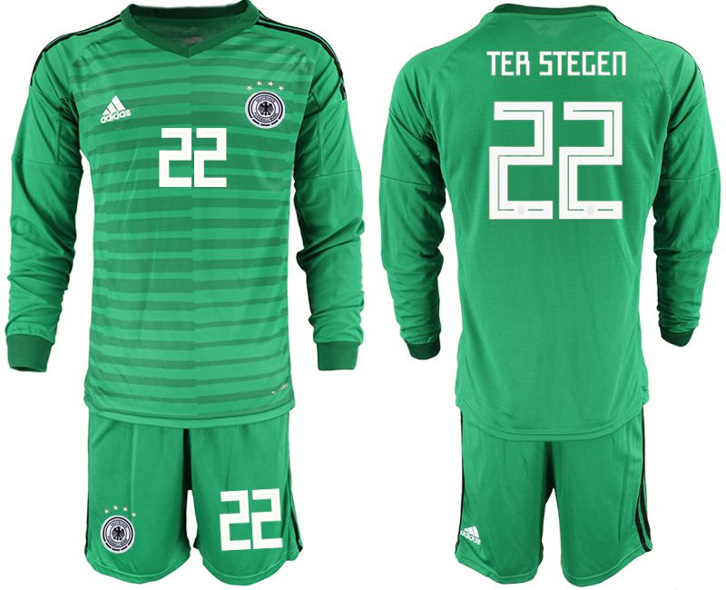 Men 2018 World Cup Germany green long sleeve goalkeeper 22 soccer jersey