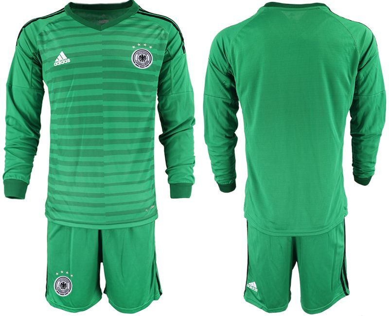 Men 2018 World Cup Germany green long sleeve goalkeeper soccer jersey