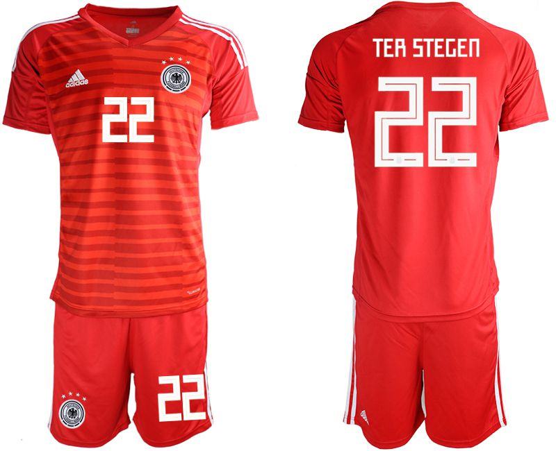 Men 2018 World Cup Germany red goalkeeper 22 Soccer Jerseys