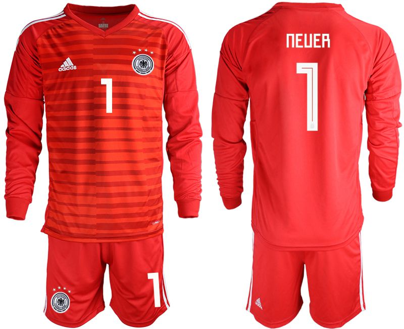 Men 2018 World Cup Germany red long sleeve goalkeeper 1 soccer jersey