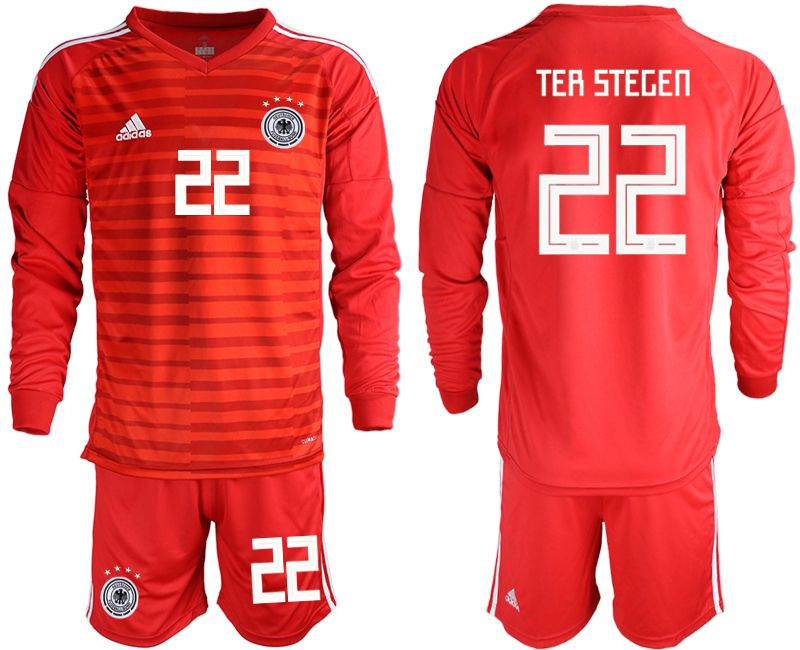 Men 2018 World Cup Germany red long sleeve goalkeeper 22 soccer jersey