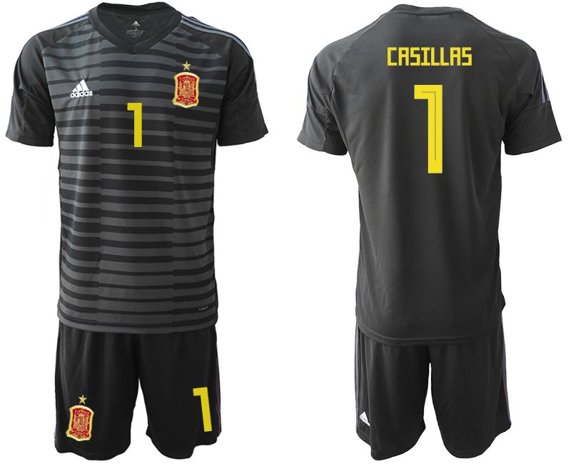 Men 2018 World Cup Spain black goalkeeper 1 Soccer Jerseys1