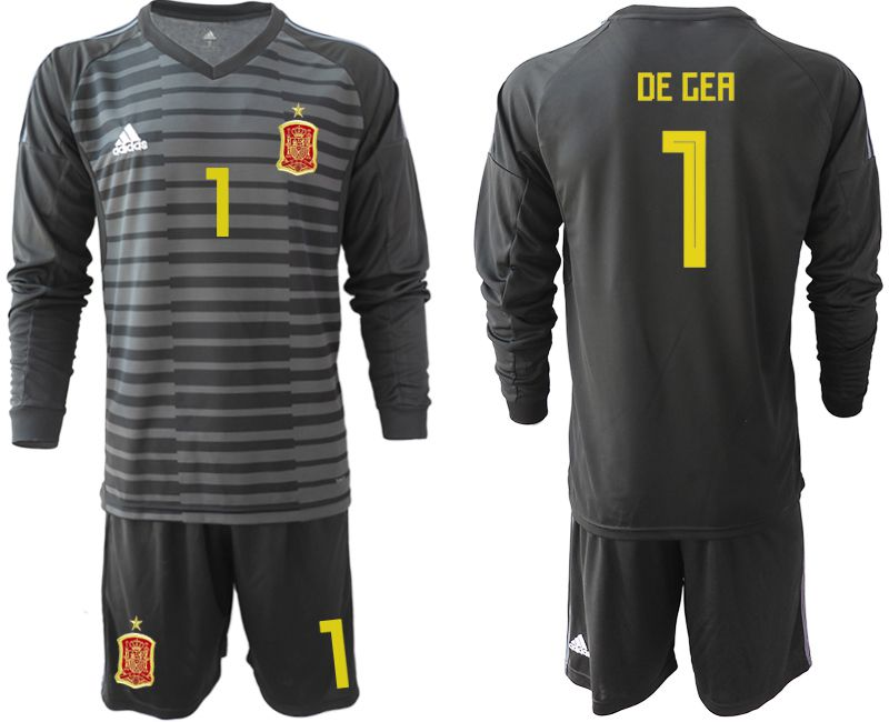 Men 2018 World Cup Spain black long sleeve goalkeeper 1 Soccer Jerseys