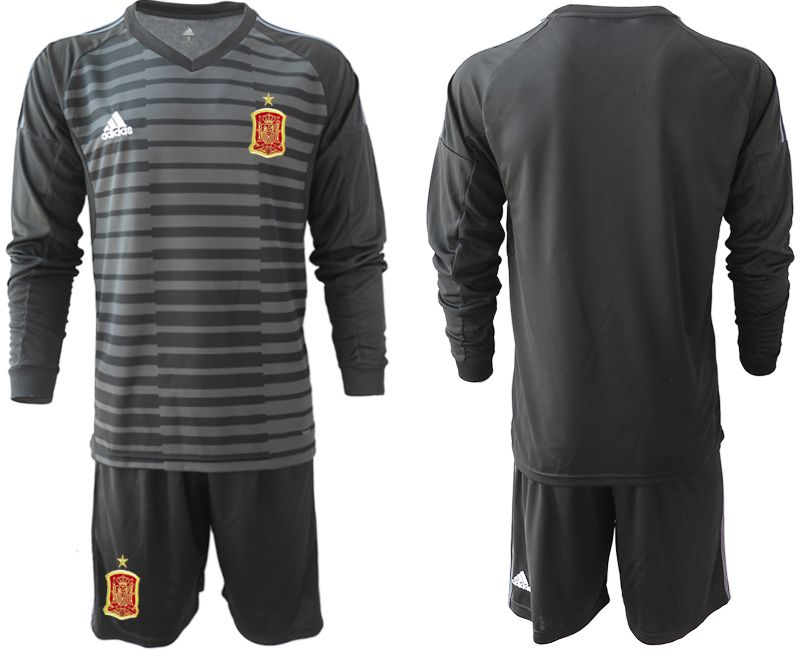 Men 2018 World Cup Spain black long sleeve goalkeeper Soccer Jerseys