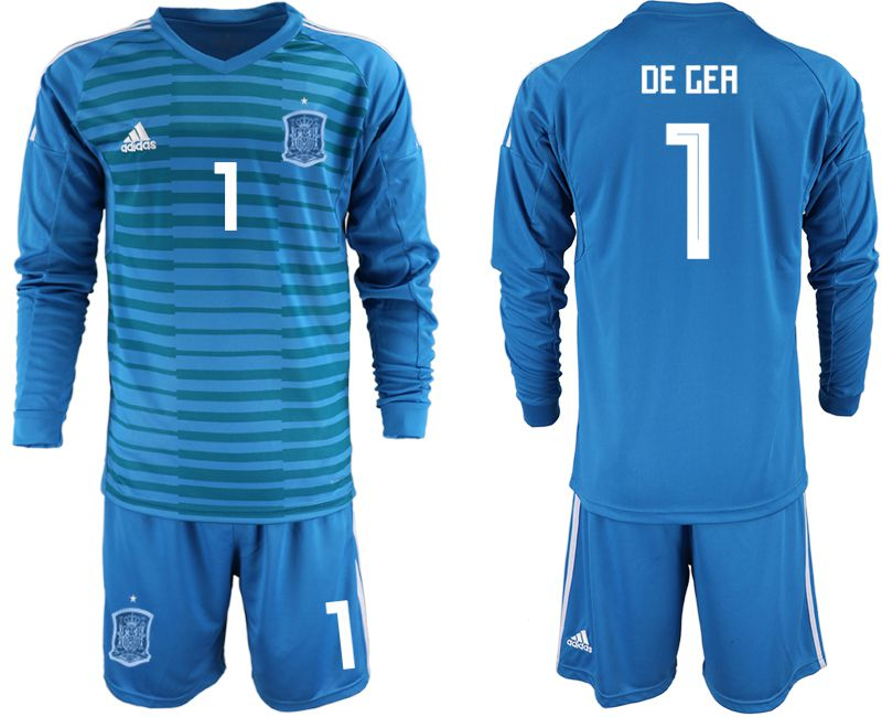 Men 2018 World Cup Spain blue goalkeeper Long sleeve 1 Soccer Jerseys