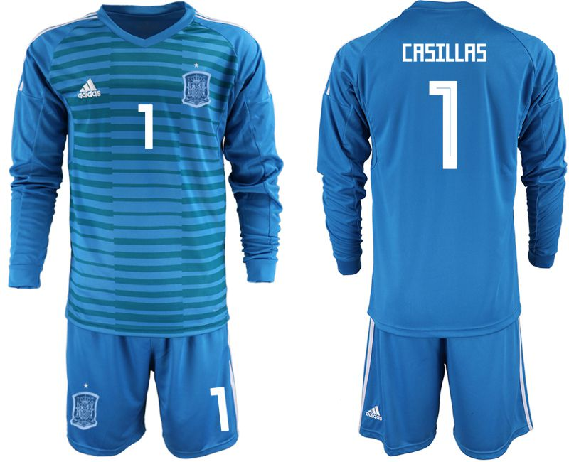 Men 2018 World Cup Spain blue goalkeeper Long sleeve 1 Soccer Jerseys1