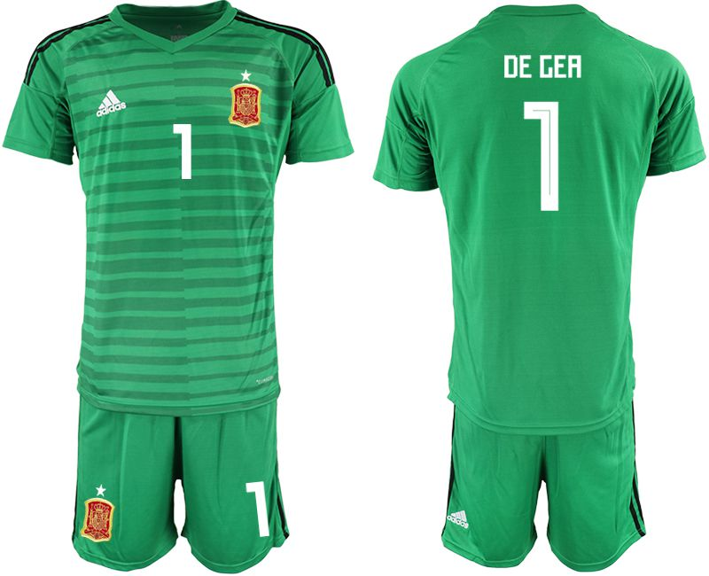 Men 2018 World Cup Spain green goalkeeper 1 Soccer Jerseys