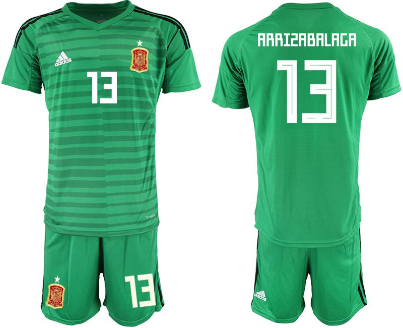 Men 2018 World Cup Spain green goalkeeper 13 Soccer Jerseys