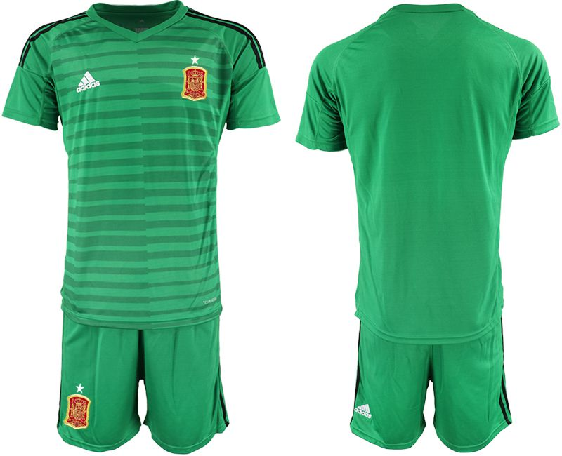 Men 2018 World Cup Spain green goalkeeper Soccer Jerseys
