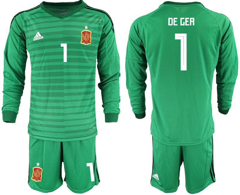 Men 2018 World Cup Spain green long sleeve goalkeeper 1 Soccer Jerseys