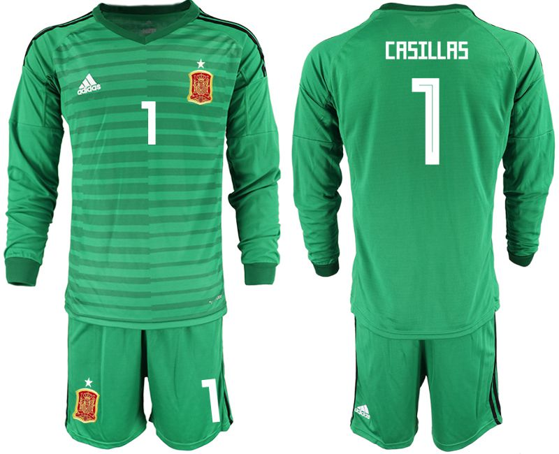 Men 2018 World Cup Spain green long sleeve goalkeeper 1 Soccer Jerseys1