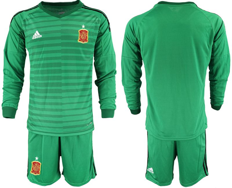 Men 2018 World Cup Spain green long sleeve goalkeeper Soccer Jerseys