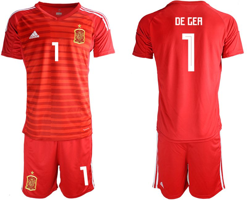 Men 2018 World Cup Spain red goalkeeper 1 Soccer Jerseys