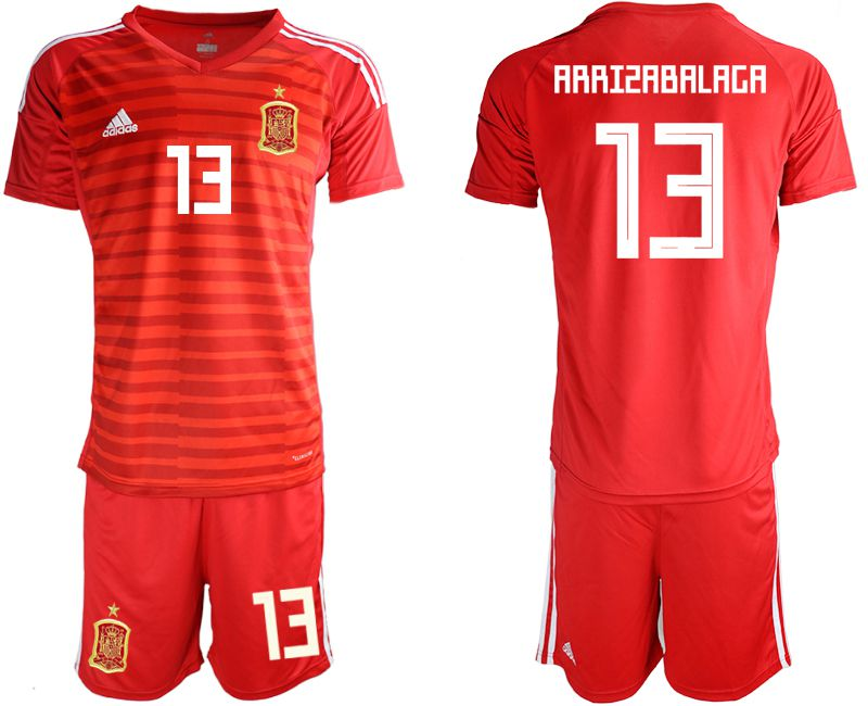 Men 2018 World Cup Spain red goalkeeper 13 Soccer Jerseys