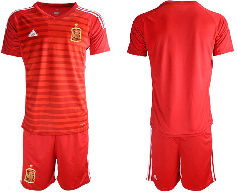 Men 2018 World Cup Spain red goalkeeper Soccer Jerseys
