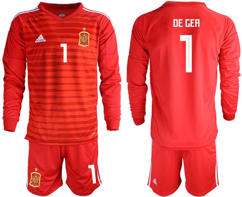 Men 2018 World Cup Spain red long sleeve goalkeeper 1 Soccer Jerseys