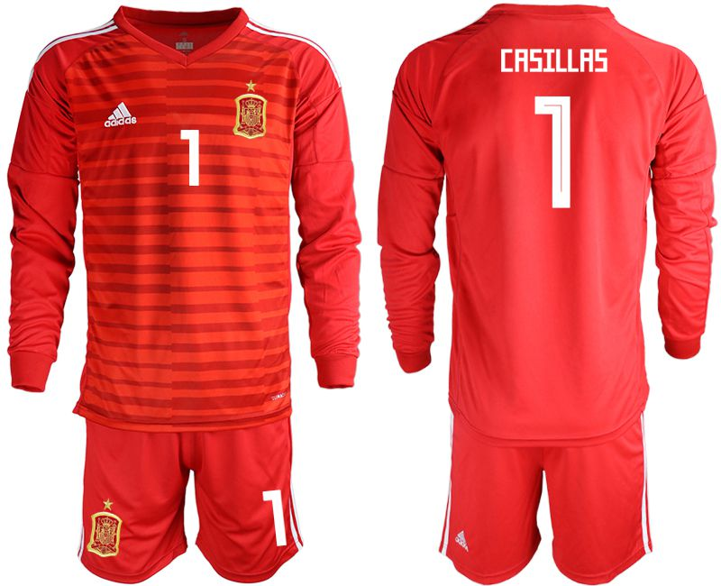 Men 2018 World Cup Spain red long sleeve goalkeeper 1 Soccer Jerseys1