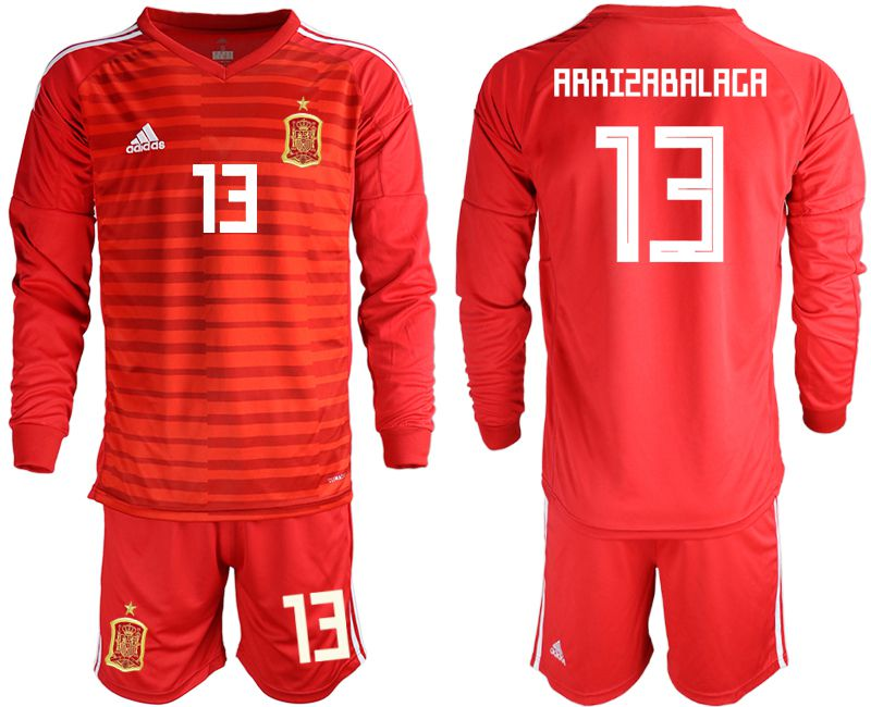 Men 2018 World Cup Spain red long sleeve goalkeeper 13 Soccer Jerseys