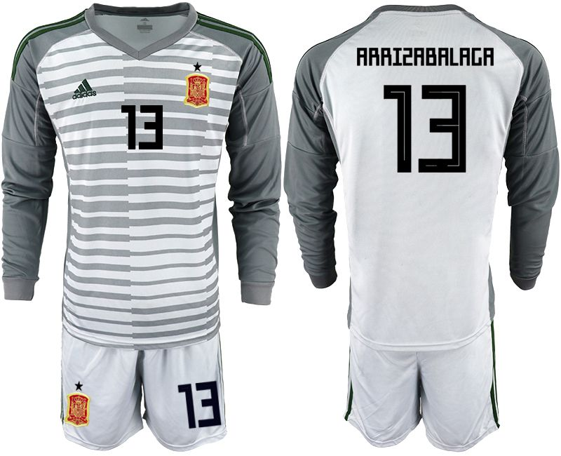 Men 2018 World Cup spain gray long sleeve goalkeeper 13 Soccer Jerseys