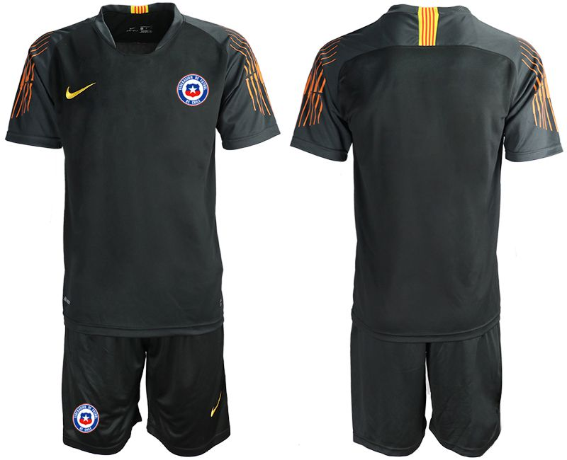 Men 2018-2019 National Team Chile black goalkeeper Soccer Jerseys