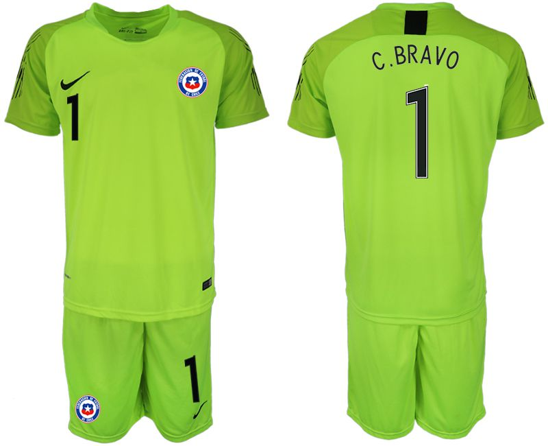 Men 2018-2019 National Team Chile fluorescent green goalkeeper 1 Soccer Jerseys