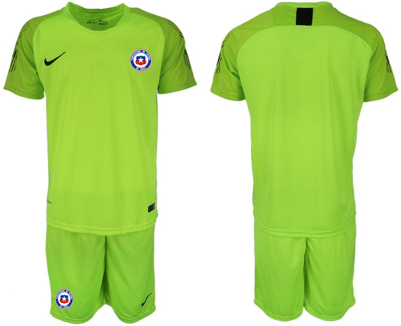 Men 2018-2019 National Team Chile fluorescent green goalkeeper Soccer Jerseys