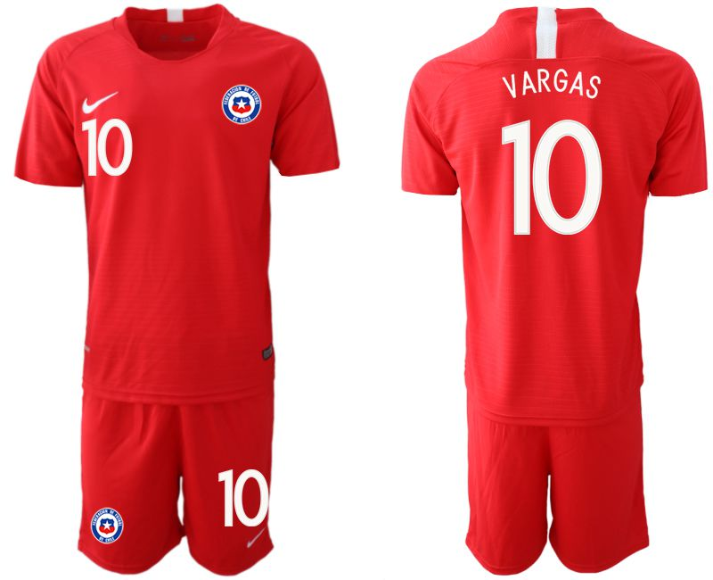 Men 2018-2019 National Team Chile home 10 red Soccer Jerseys