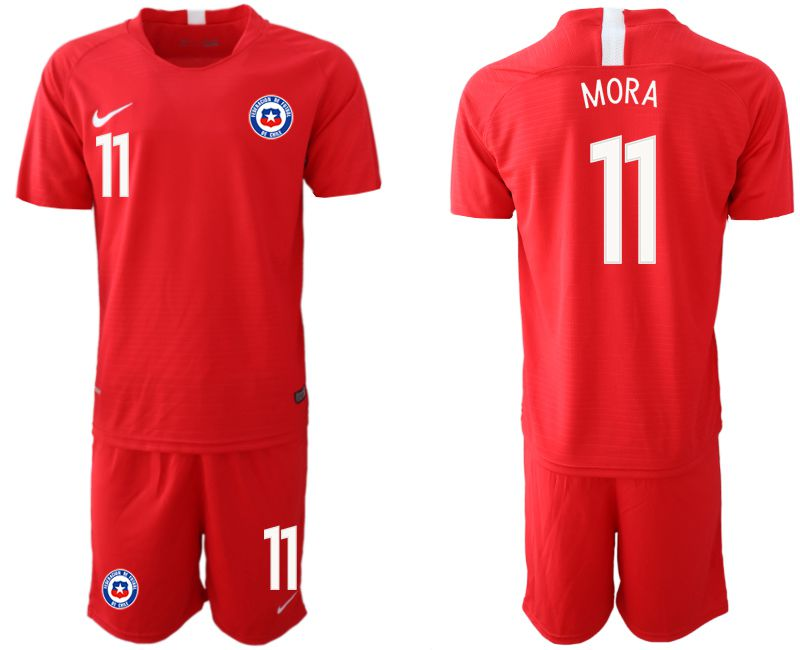 Men 2018-2019 National Team Chile home 11 red Soccer Jerseys