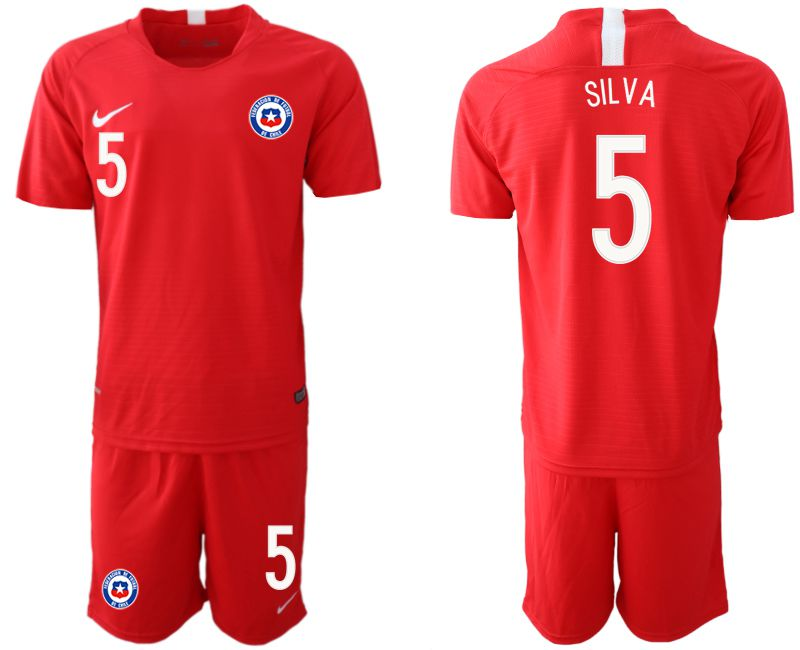 Men 2018-2019 National Team Chile home 5 red Soccer Jerseys
