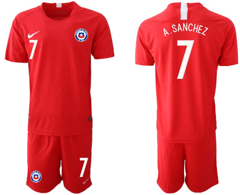 Men 2018-2019 National Team Chile home 7 red Soccer Jerseys1