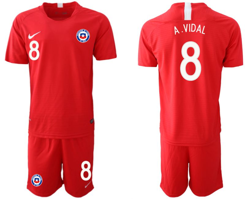 Men 2018-2019 National Team Chile home 8 red Soccer Jerseys