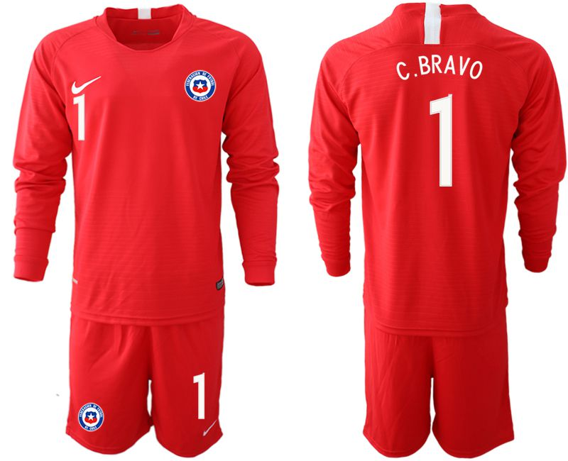 Men 2018-2019 National Team Chile home long sleeve 1 red Soccer Jerseys