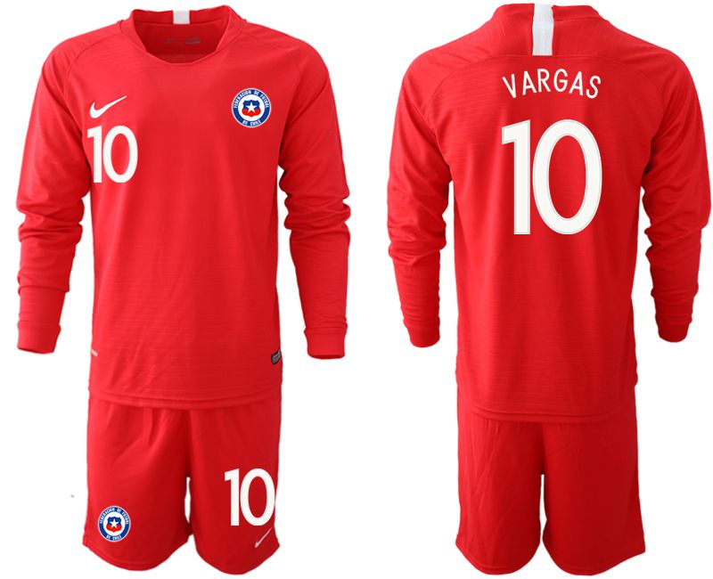 Men 2018-2019 National Team Chile home long sleeve 10 red Soccer Jerseys
