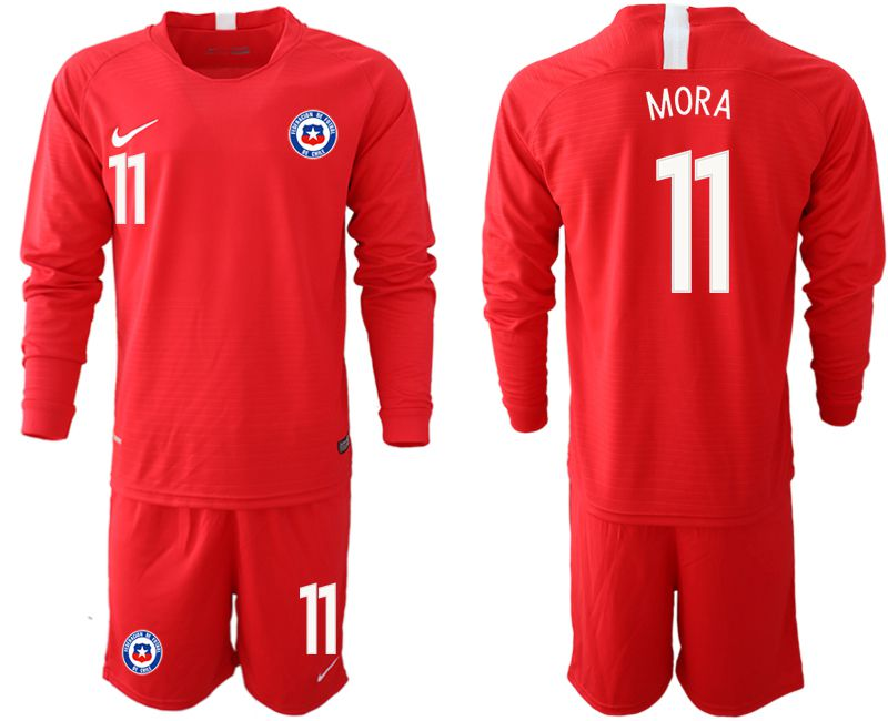 Men 2018-2019 National Team Chile home long sleeve 11 red Soccer Jerseys