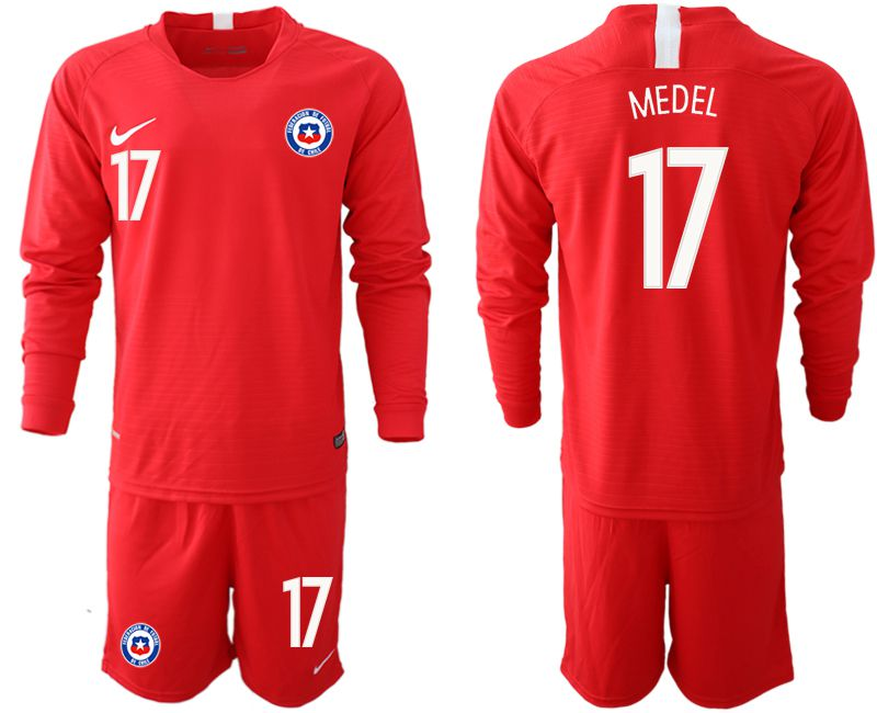 Men 2018-2019 National Team Chile home long sleeve 17 red Soccer Jerseys