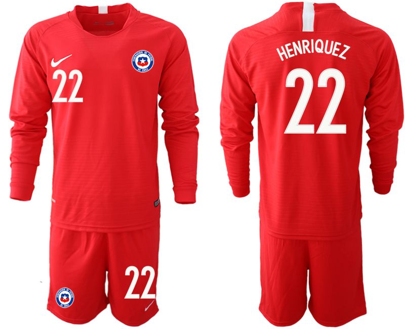 Men 2018-2019 National Team Chile home long sleeve 22 red Soccer Jerseys