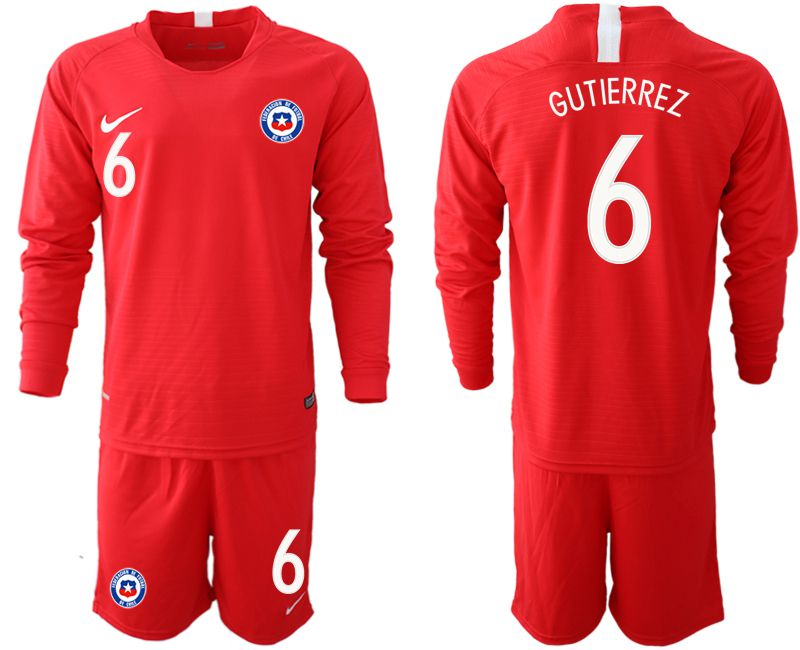 Men 2018-2019 National Team Chile home long sleeve 6 red Soccer Jerseys