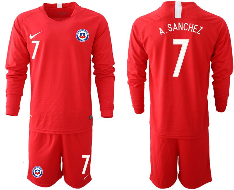 Men 2018-2019 National Team Chile home long sleeve 7 red Soccer Jerseys