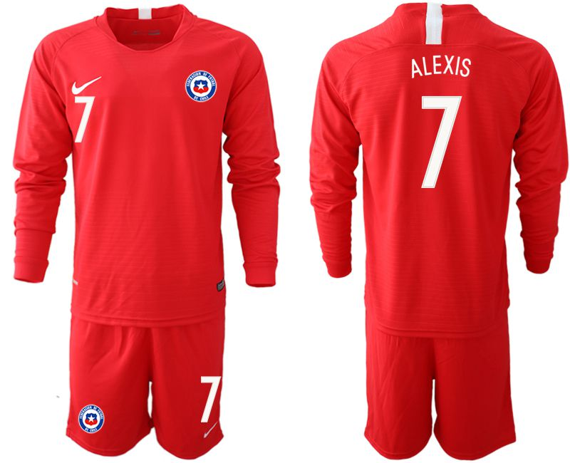 Men 2018-2019 National Team Chile home long sleeve 7 red Soccer Jerseys1